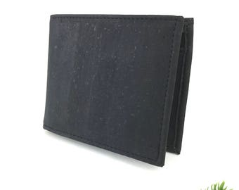 Trifold Cork Wallet For Men - Minimalist Vegan Wallet - Coins Pocket - Card Holder - Mens Slim Wallet - Vegan Men Gift - 8 Card Slots Black
