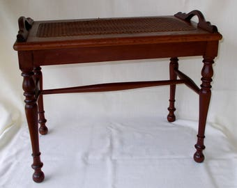Antique Vintage Piano Bench, Cane,Wicker,Rattan