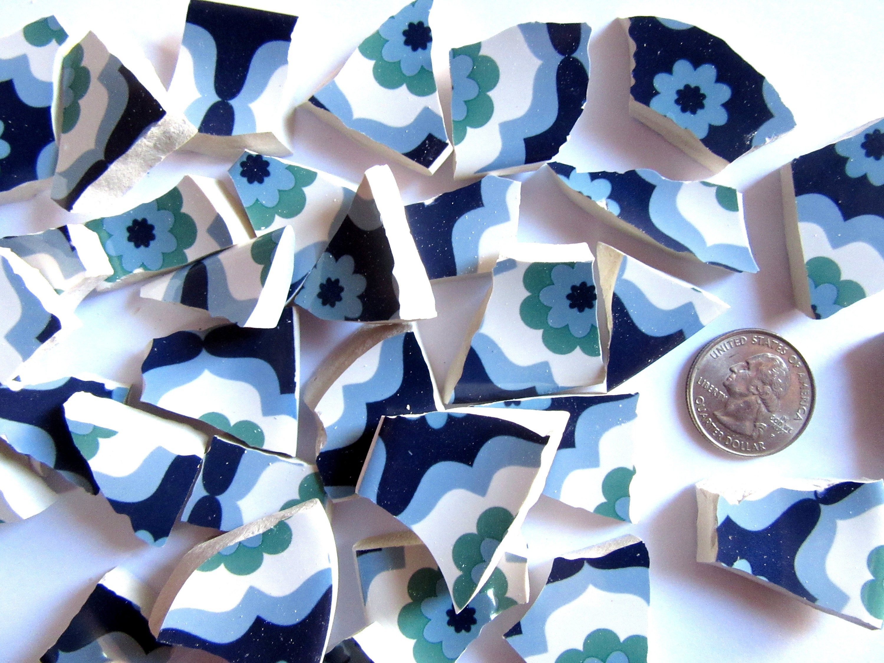 50 blue and white mosaic tiles broken china pieces for Mosaic pieces for crafts