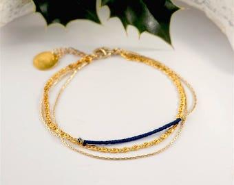 Bracelet 3 rows, Navy & gold