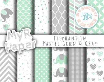 "Elephant digital paper: ""Mint & Gray"" elephants papers pack of backgrounds and patterns - perfect for Baby Shower"