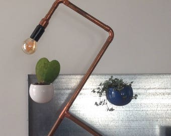 Industrial vintage desk lamp or bedside copper