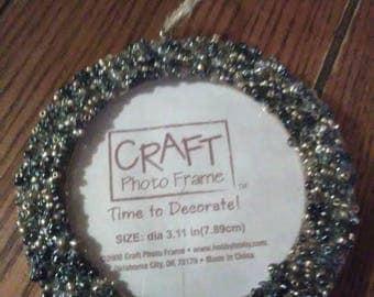 Beaded Photo Frame Ornament in Slate