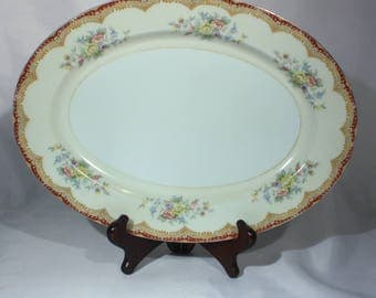 Kikusui China Platter with Burgundy Red and Gold Trim and Floral Bouquet Design Serving Plate