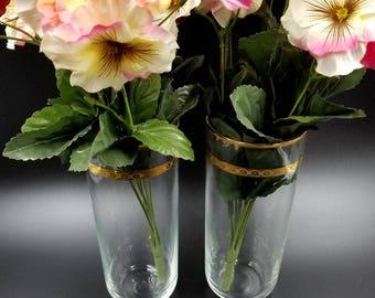 Libbey Glass Victoria Vases, Unit S, 22k Gold Trim