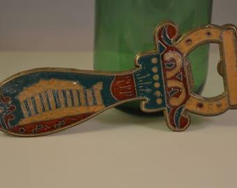 Vintage brass,enamel bottle opener,acropolis greece