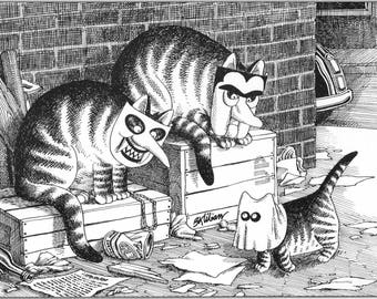 Kliban Cat Original Vintage Art Print Funny Face Cat