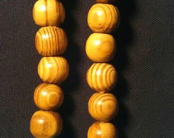 Wood Beaded Pierced Earrings
