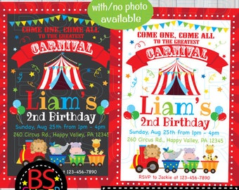 Carnival Invitation, Carnival Birthday Invitation, Circus Invitation, Circus Birthday Invitation, Circus themed party