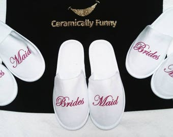 Slippers - Bridesmaid Gifts - Slippers - Bride Slippers - Personalized Slippers - Wedding Slippers - Bridal Slippers- Custom Slippers