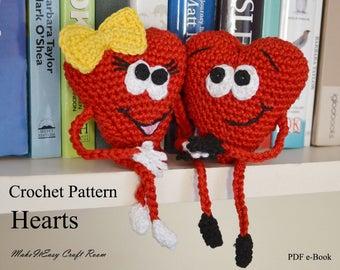 Amigurumi hearts crochet pattern Crochet hearts couple Mothers day heart Hearts on shelf Valentine crochet smiley hearts Digital download