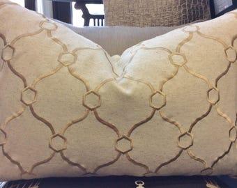 Beige, Gold, Geometric, Embroidered Pillow Cover w/ zipper, Trellis Pillow, 14x20