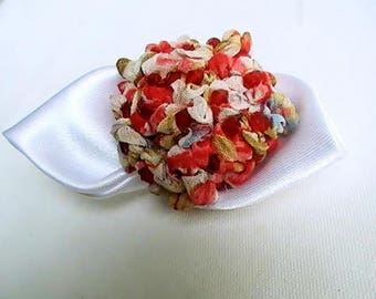 Japanese Red and white hydrangea brooch