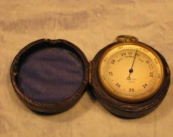 Pocket Barometer Antique Victorian Pillischer Opticians New Bond Street London England Leather Cased  C1880