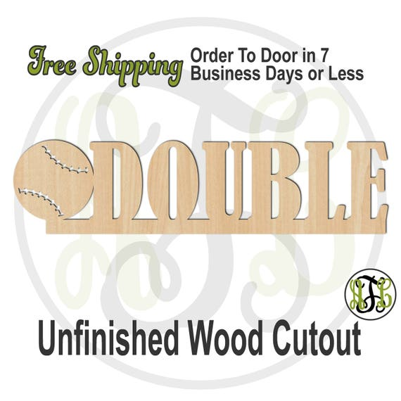 Baseball Double- 325059- Sports Cutout, unfinished, wood cutout, wood craft, laser cut, wood cut out, Door Hanger, School Spirit, wooden