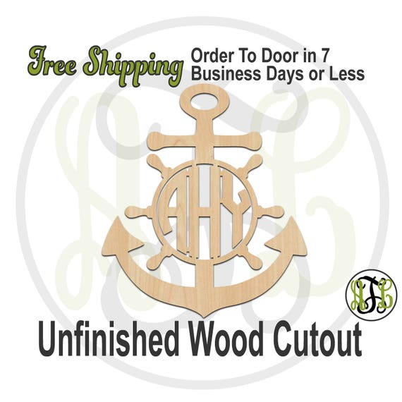 Anchor and Wheel 3-Letter Monogram - 990021M3- Personalized Cutout, unfinished, wood cutout, wood craft, laser cut, wood cut out, wooden