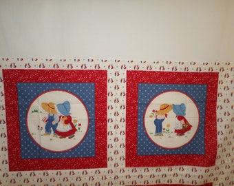Sunbonnet boy and girl pillow panels you get 2 panels VIP Vintage