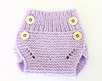 Knitted Baby Diaper Cover - Knitted Baby Bloomer - Light Purple - Dress Diaper Cover