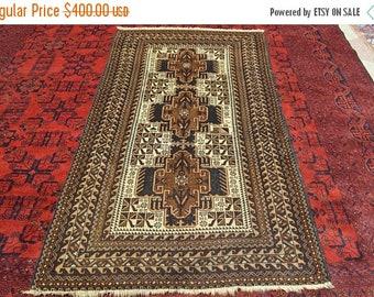 47% SPRING SALE Vintage Zakani Medallion Pattern Belouch Carpet