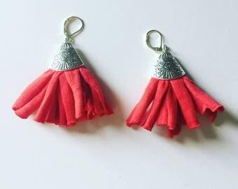 Dangling earrings with tassel red Jersey