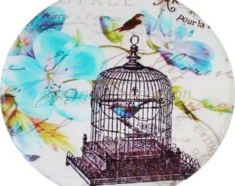 Cabochon resin 'birdcage' model personalized 25mm