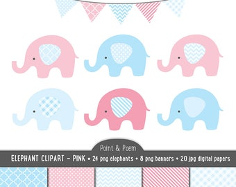 Elephant Clip Art,  Digital Papers, Blue Pink Baby clipart, Blue & Pink Baby Shower - Commercial Use