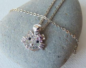 Rhinestone Hello Kitty Pendant Necklace, Vintage Sparkly Kitty Necklace, Small Hello Kitty, Girl Jewelry, Girl Collectible, Kitty Jewelry