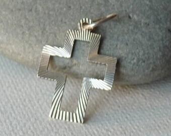 Sterling Silver Cross Pendant, Modern Crucifix, Hollowed Silver Cross, 925 Vintage Cross, Religious Jewelry, Simple Cross 925 Cross Pendant