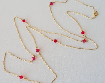 Gold Tone Chain Necklace Vintage Red Crystal Gold Tone 31 inch Long Necklace Minimalist  Jewelry, Christmas Jewelry, 70's Gold Jewelry