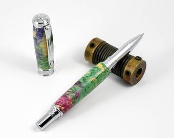 Chrome Rollerball Pen - Green/Yellow/Purple Dyed Box Elder Burl Rollerball Pen - Postable