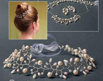 Freshwater pearl vine, wedding headpiece, bridal hair vine, pink pearl headband, bridesmaid wreath, wire wrapped tiara, wedding hair vine