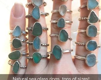 Natural sea glass rings, handmade rings, seaglass, stackable rings