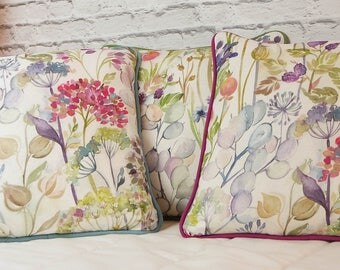 Voyage Hedgerow Cream Piped Cushion Cover with Piping Colour Choice 40x40cm