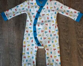 Organic Baby Girl Boy Romper Sleeper 0-3 Months Mths White Blue Red Bugs Black Snaps Custom Cotton Knit - Cloud 9