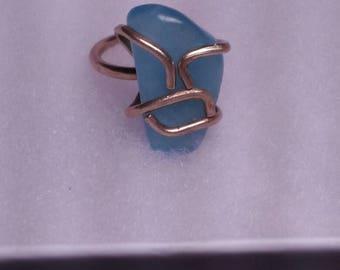 Aquamarine Raw Brass Wrapped Crystal Ring