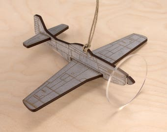 P-51 Mustang warbird fighter plane Christmas Ornament