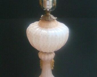 Italian ~Murano~ Barovier Toso Art Glass Table Lamp w/ Gold Flecks & Bubbles