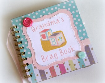 Grandma's Brag Book premade scrapbook album great for new baby gift new grandparent baby shower sip n see baby sprinkle gift 905