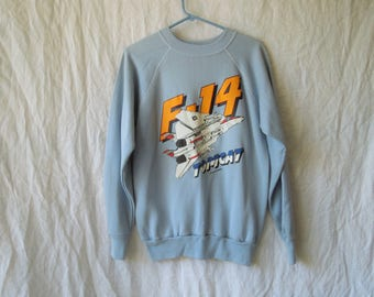 80s F-14 Tom Cat Airplane Crew Neck Sweatshirt