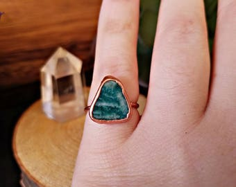 CLEARANCE: 30% OFF! Size 4 - Copper Electroformed Amazonite Ring