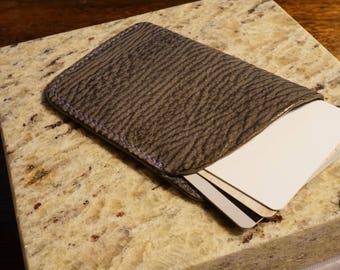 Shark skin leather card case