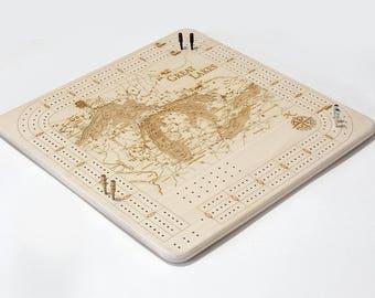 Great Lakes Cribbage Board | Cribbage Board | Great Lakes Gift | Card Game | Cribbage Game | Great Lakes Art | Michigan Art | Wall Art