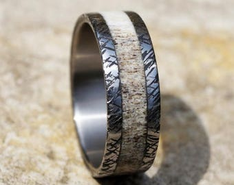 Natural deer antler and hammered titanium ring