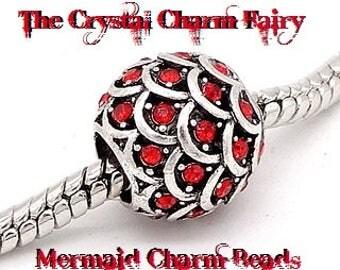 European Charm RED CRYSTAL MERMAID Charm Bead Bead Fits / Large Hole / Pandora / European / Bracelets