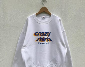 BIG SALE Vintage Hawaii Crazy Shirts Sweatshirt/Crazy Shirts Sweater/Hawaiian Shirt/crewneck