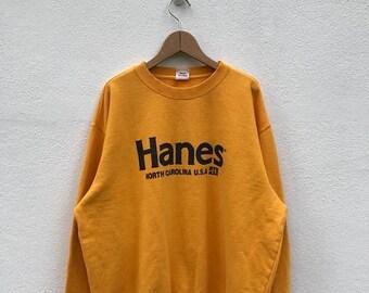 BIG SALE Vintage Hanes Sweatshirt/Hanes Yellow Sweater/Hanes Sportwear/Hanes Shirt
