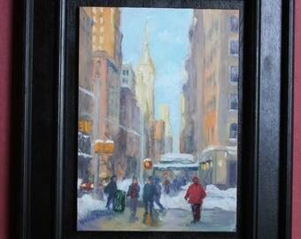 Winter, 5th Avenue, Manhattan, Original Oil Painting