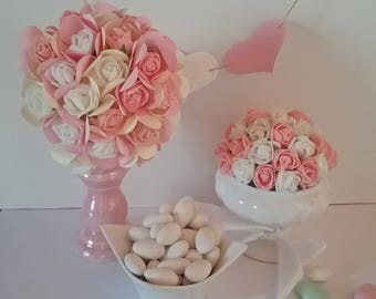 Ball of EVA and paper flowers for christening table decoration, communion, wedding or birthday