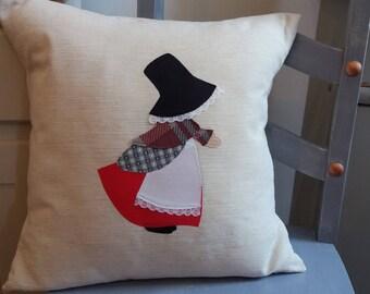 Welsh Lady Cushion, Handmade Cushion, Welsh, Wales, Traditional Cushion