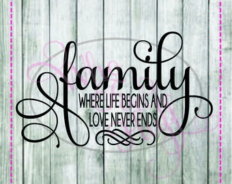 Family where life begins and love never ends SVG, DIY jpg png dxf eps files, cutting file, gift Unique saying quote friend family present